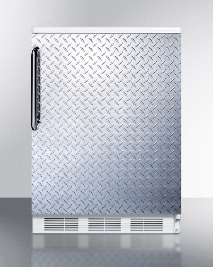 Commercially listed freestanding all-refrigerator for general purpose use, auto defrost w/diamond plate wrapped door, towel bar handle, and white cabinet