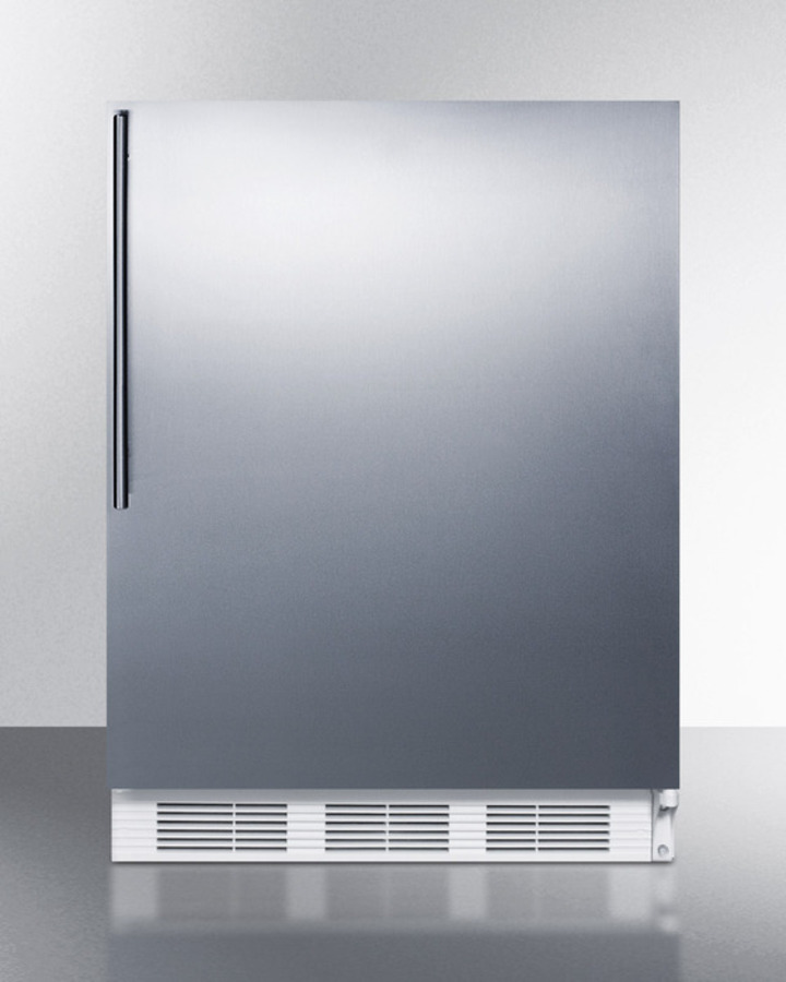 Summit ADA compliant commercial all-refrigerator for freestanding general purpose use, auto defrost with stainless steel door, thin handle, and white cabinet