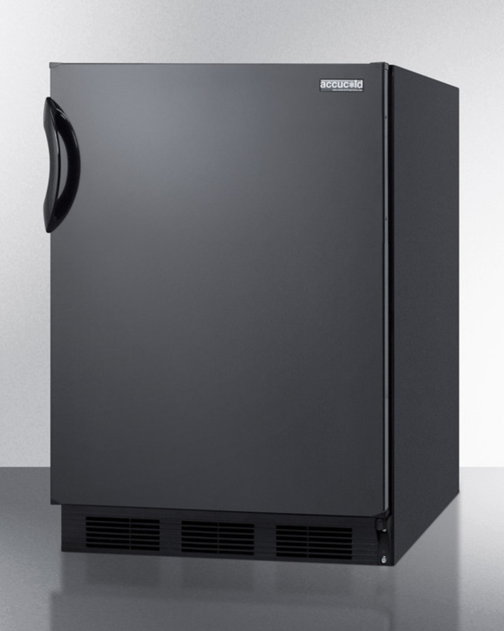 Commercially listed freestanding all-refrigerator for general purpose use, with automatic defrost operation and black exterior