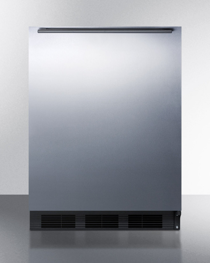 Summit ADA compliant commercial all-refrigerator for freestanding general purpose use, auto defrost with stainless steel door, horizontal handle, and black cabinet