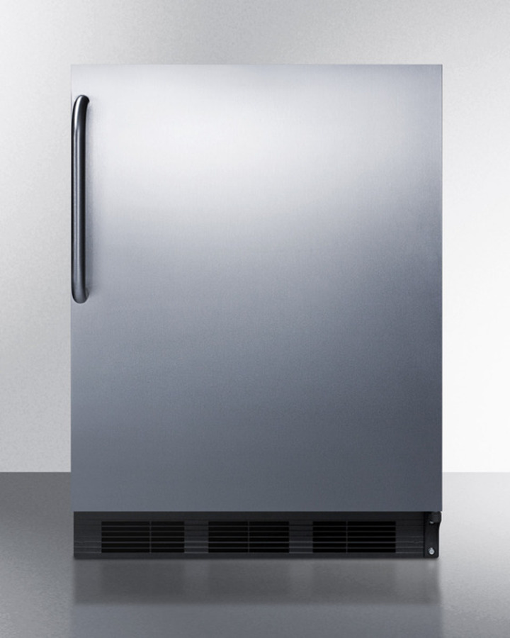 Commercially listed freestanding all-refrigerator for general purpose use, auto defrost w/stainless steel wrapped door, towel bar handle, and black cabinet