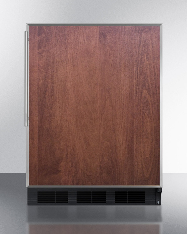 ADA compliant commercial all-refrigerator for built-in general purpose use, auto defrost w/SS door frame for slide-in panels and black cabinet