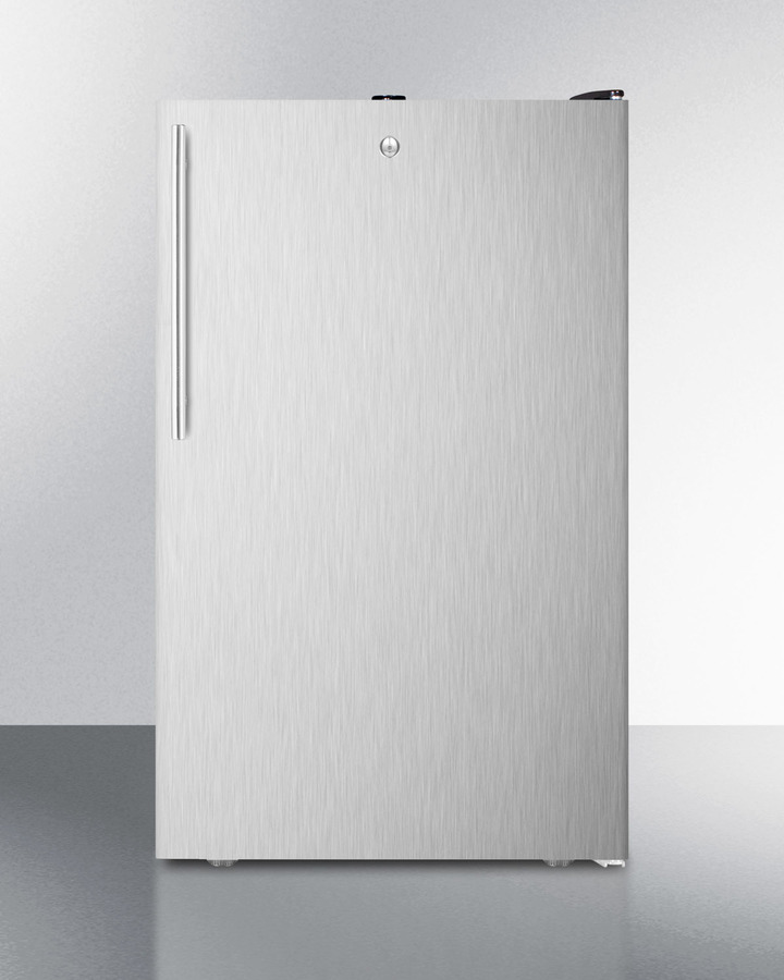 Commercially listed ADA Compliant 20' wide counter height all-refrigerator, auto defrost with a lock, stainless steel door, thin handle, and black cabinet