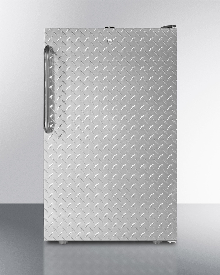 Commercially listed 20' wide built-in undercounter all-refrigerator, auto defrost with a lock, diamond plate wrapped door and black cabinet