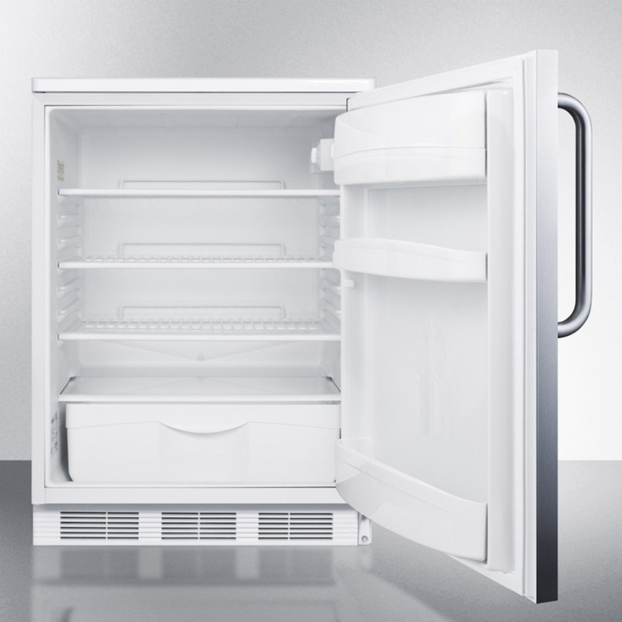 Built-in undercounter all-refrigerator for general purpose use w/automatic defrost, stainless steel wrapped door, towel bar handle, and white cabinet