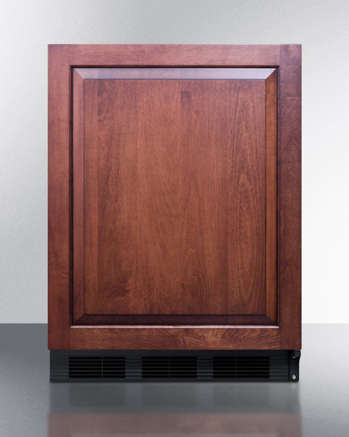 Commercially listed built-in undercounter all-refrigerator for general purpose use, auto defrost w/integrated door frame for overlay panels and black cabinet