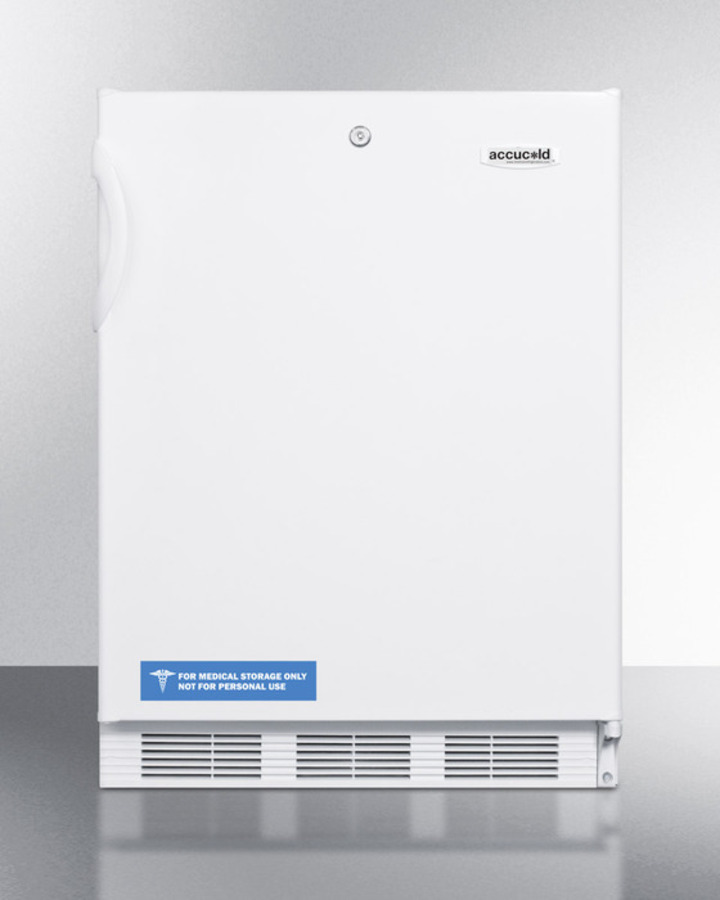 ADA compliant commercial all-refrigerator for freestanding general purpose use, with lock, automatic defrost operation and white exterior