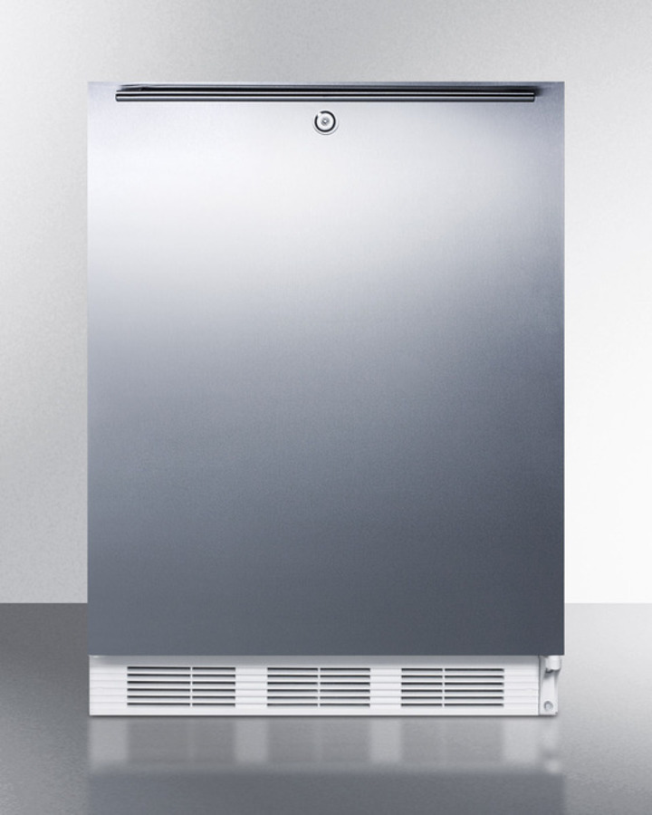 ADA compliant commercial all-refrigerator for freestanding general purpose use, auto defrost with lock, SS wrapped door, horizontal handle, and white cabinet