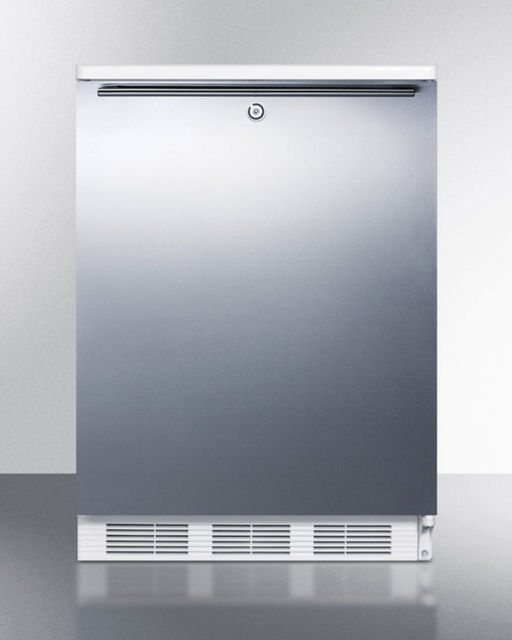 Commercially listed built-in undercounter all-refrigerator for general purpose use, auto defrost w/lock, SS wrapped door, horizontal handle, and white cabinet