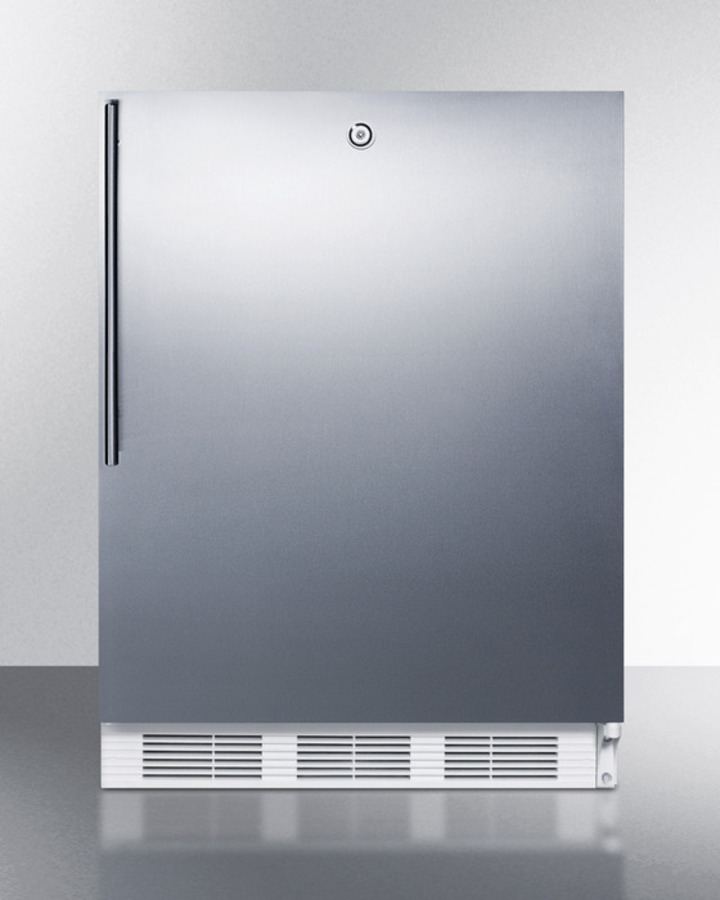 ADA compliant commercial all-refrigerator for built-in general purpose use, auto defrost w/lock, SS wrapped door, thin handle, and white cabinet