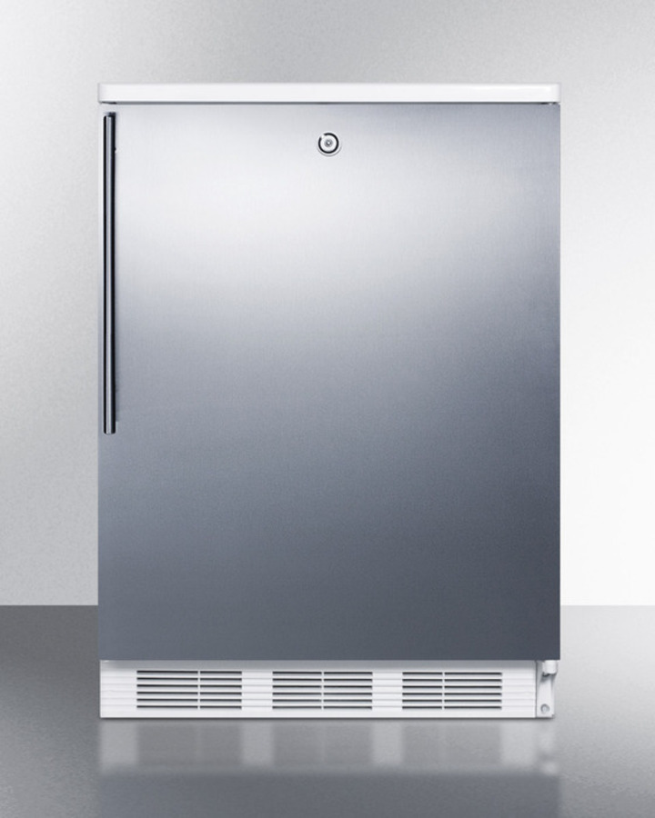 Summit Freestanding counter height all-refrigerator for general purpose use, auto defrost w/lock, stainless steel wrapped door, thin handle, and white cabinet