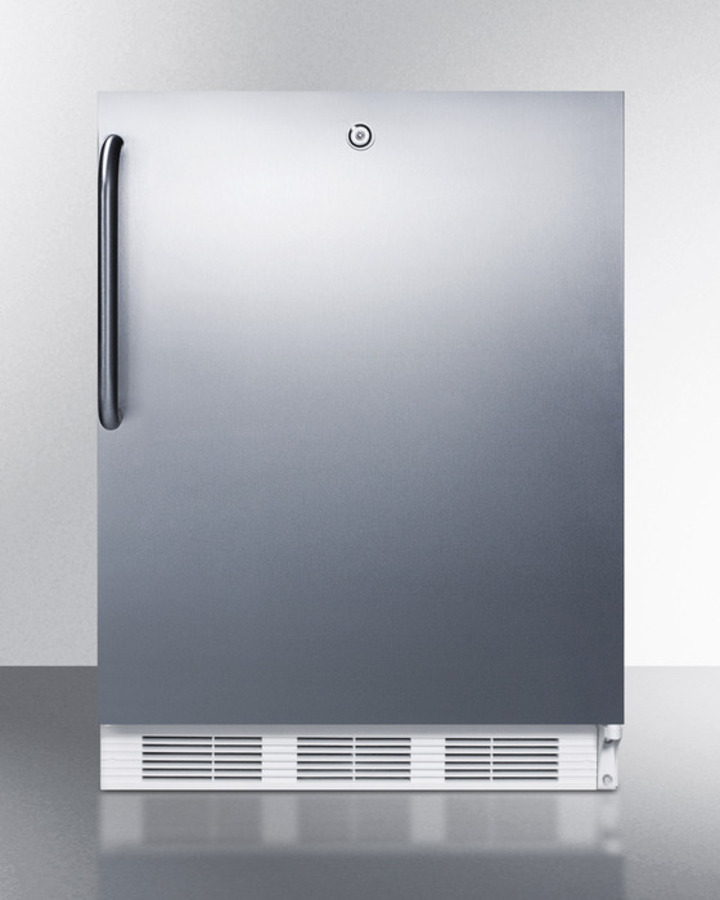 ADA compliant all-refrigerator for freestanding general purpose use, auto defrost w/lock, SS wrapped door, towel bar handle, and white cabinet