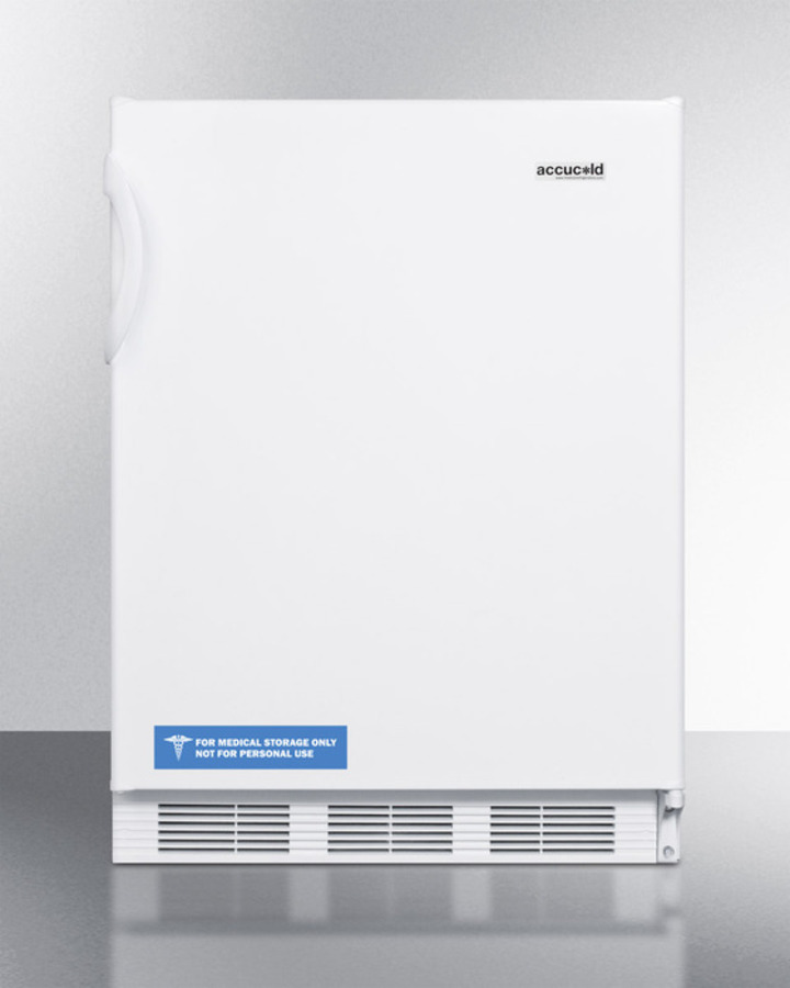 Summit Commercially listed freestanding all-refrigerator for general purpose use, with flat door liner, automatic defrost operation and white exterior