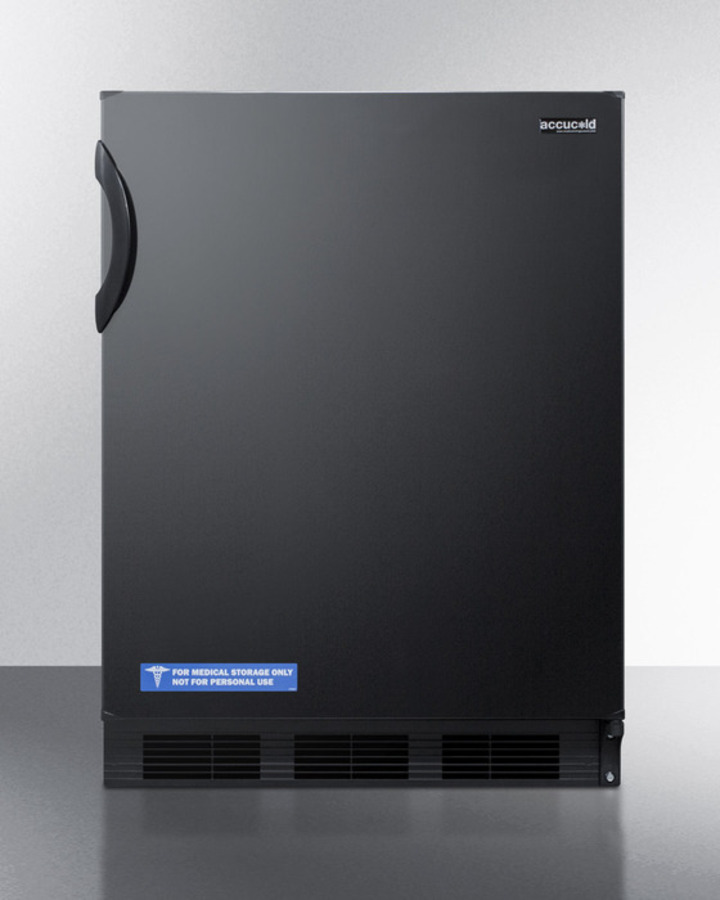 ADA compliant built-in undercounter all-refrigerator for general purpose or commercial use, with flat door liner, auto defrost operation and black exterior