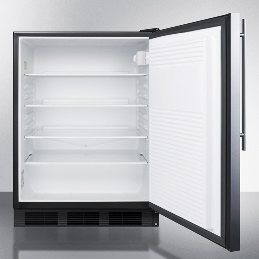 Model: FF7BSSHVADA | Summit ADA compliant commercial all-refrigerator for freestanding general purpose use, auto defrost w/SS door, thin handle, and black cabinet