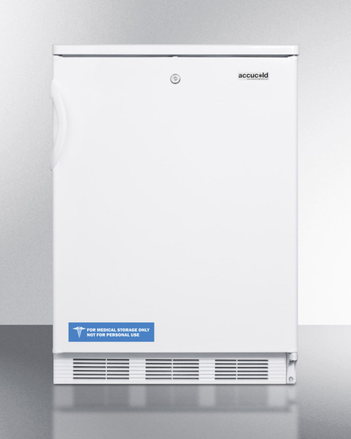 Summit Commercially listed built-in undercounter all-refrigerator for general purpose use, with lock, flat door liner, automatic defrost operation and white exterior