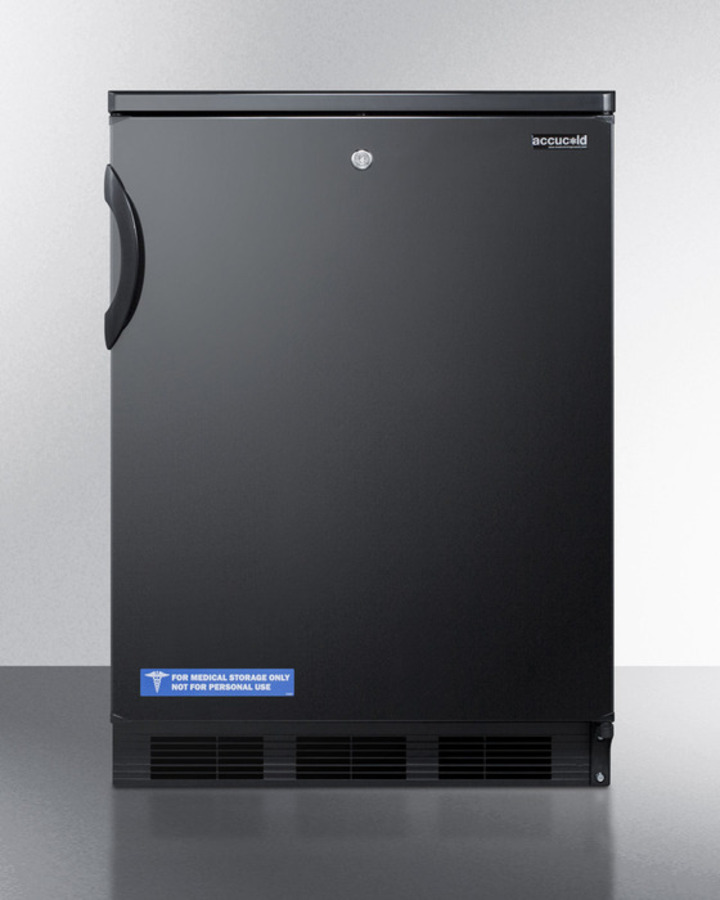 Commercially approved auto defrost all-refrigerator with lock for built-in undercounter use in black finish