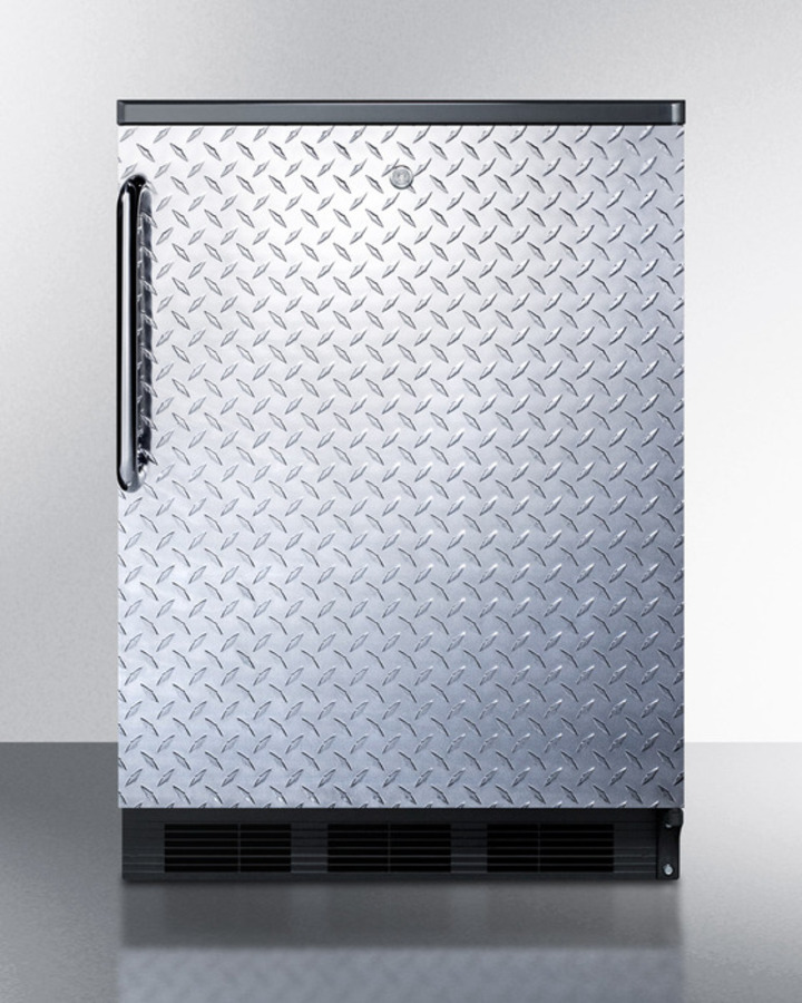 Commercially listed built-in undercounter all-refrigerator for general purpose use, auto defrost w/diamond plate door, TB handle, lock, and black cabinet