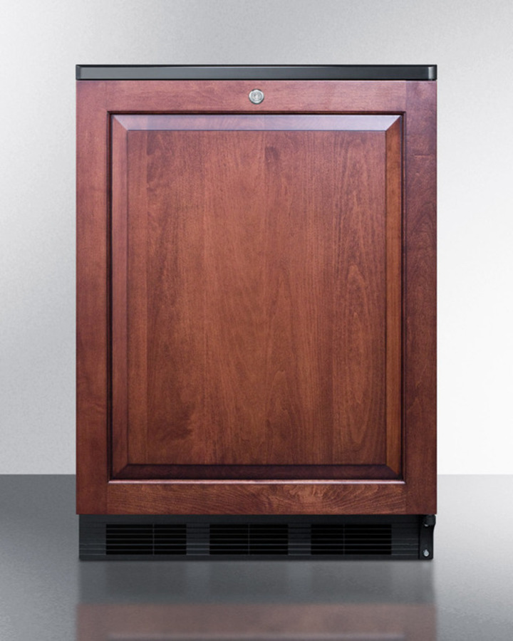 Commercially listed built-in undercounter all-refrigerator for general purpose use, auto defrost w/panel-ready door, lock, and black cabinet