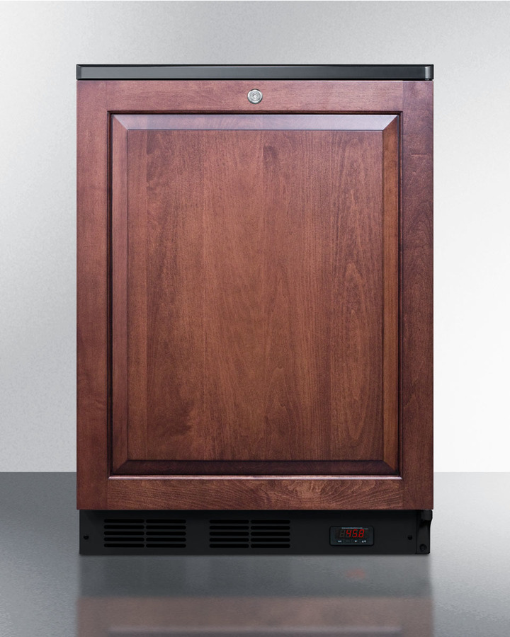 Summit Commercially approved built-in undercounter craft beer Pub Cellar with digital thermostat, panel-ready door, and black cabinet