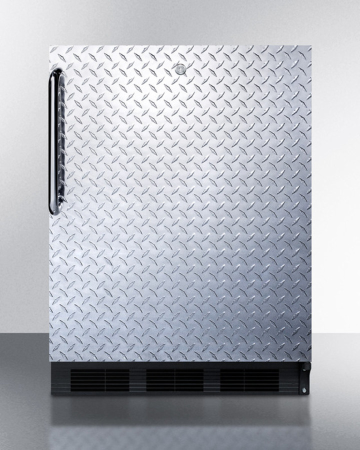 Summit ADA compliant commercial all-refrigerator for freestanding use, with black cabinet, stainless steel door, lock, and towel bar handle