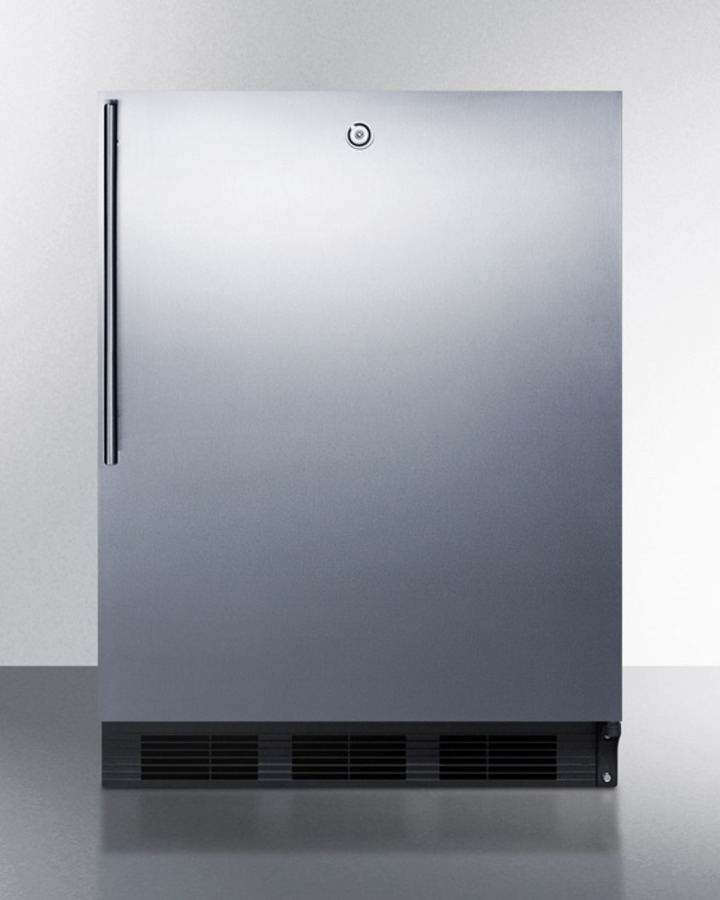 Summit ADA compliant commercial all-refrigerator for freestanding general purpose use, auto defrost w/SS door, thin handle, lock, and black cabinet