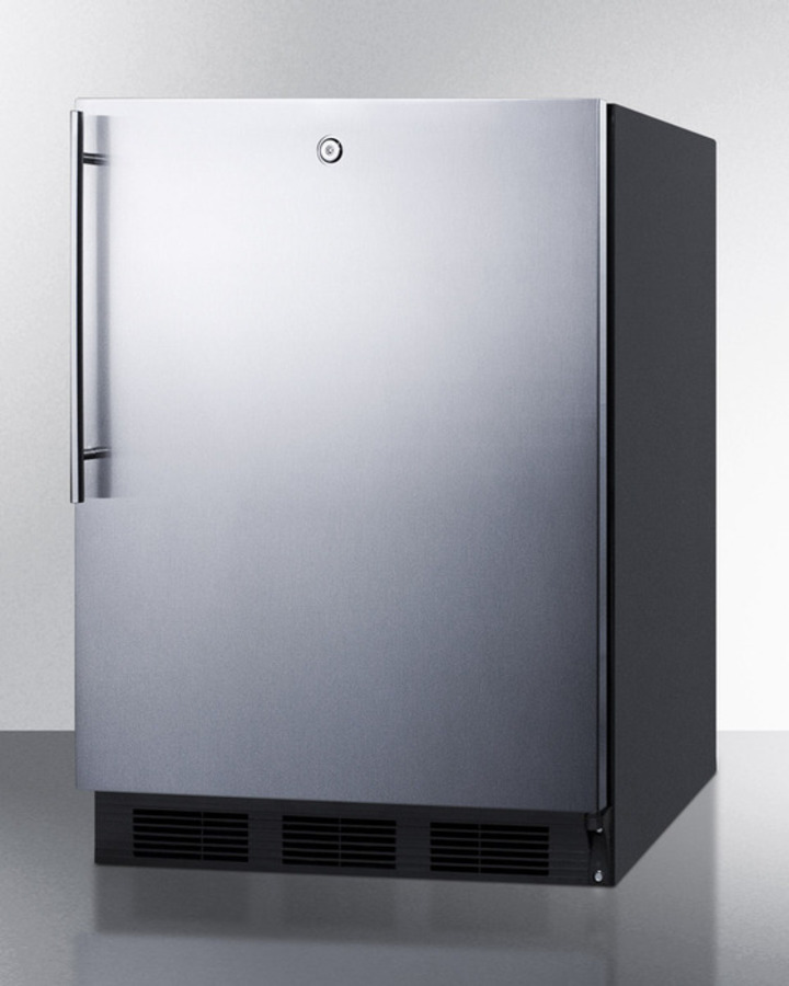 Model: FF7LBLSSHVADA | Summit ADA compliant commercial all-refrigerator for freestanding general purpose use, auto defrost w/SS door, thin handle, lock, and black cabinet