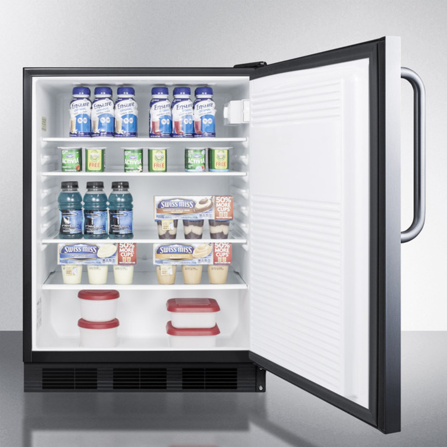 Model: FF7LBLSSTBADA | Summit ADA compliant commercial all-refrigerator for freestanding general purpose use, auto defrost w/SS door, towel bar handle, lock, and black cabinet