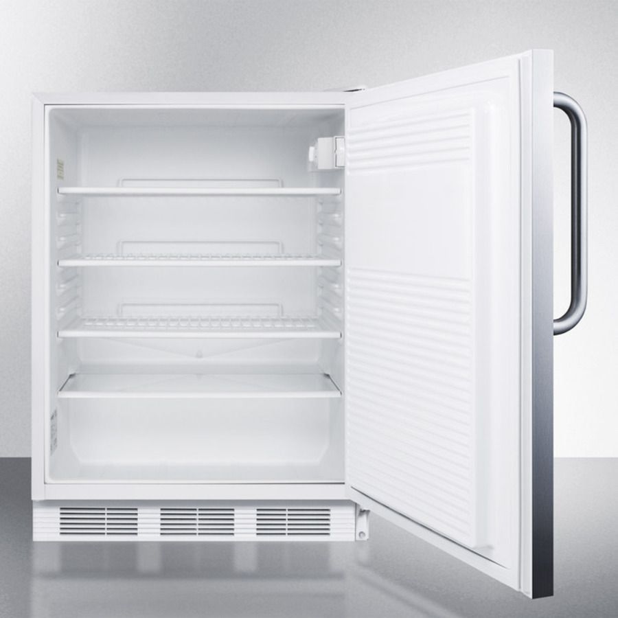 ADA compliant commercial all-refrigerator for freestanding general purpose use, auto defrost w/SS door, towel bar handle, and white cabinet