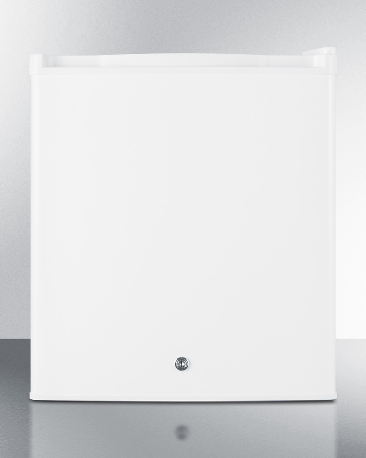 Commercially approved compact all-refrigerator in white with digital thermostat