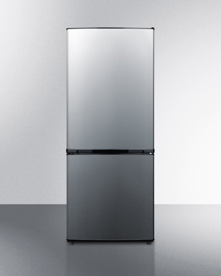 Summit ENERGY STAR qualified frost-free bottom freezer refrigerator with stainless steel doors and black cabinet in unique 60' height