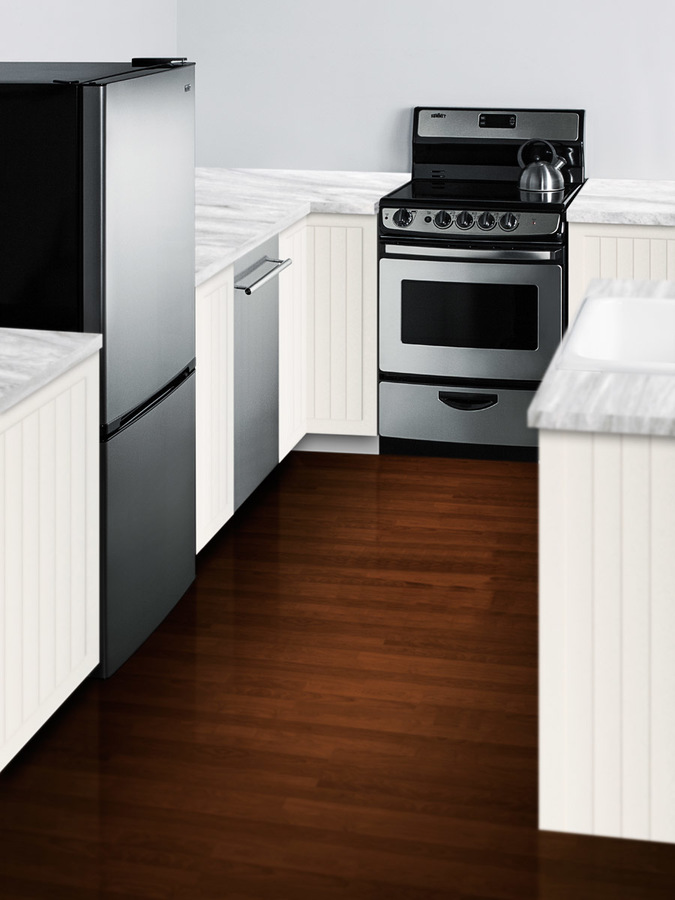 Model: FFBF101SS   Summit ENERGY STAR qualified frost-free bottom freezer refrigerator with stainless steel doors and black cabinet in unique 60' height