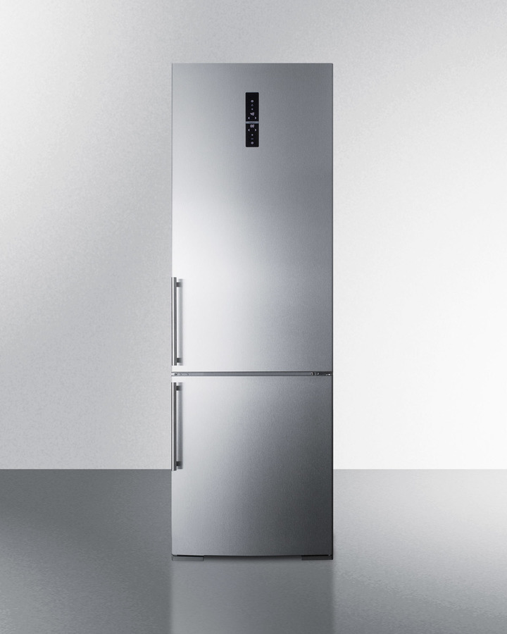 Summit European counter depth bottom freezer refrigerator with stainless steel doors, platinum cabinet, factory installed icemaker, and digital controls for each section