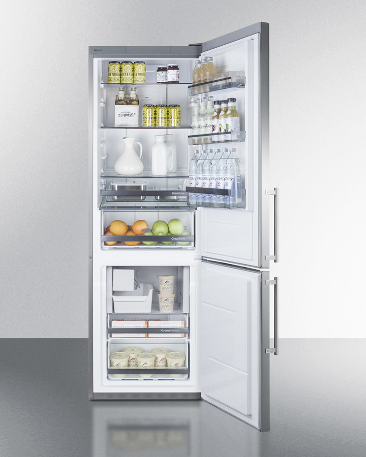 Model: FFBF249SSIM | Summit European counter depth bottom freezer refrigerator with stainless steel doors, platinum cabinet, factory installed icemaker, and digital controls for each section