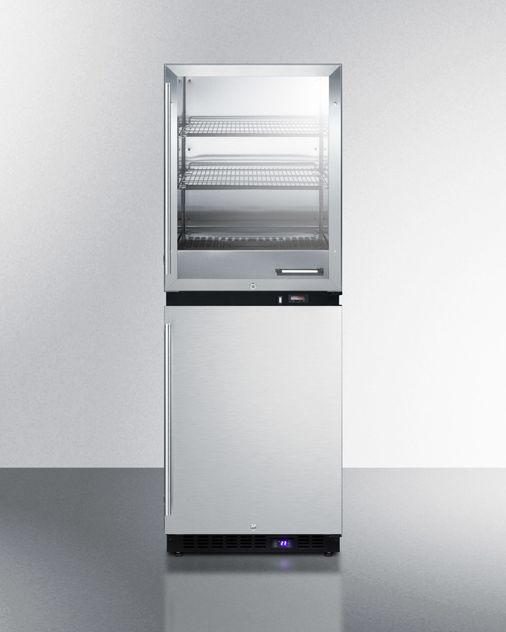 Upper warming cabinet and lower all-freezer for dual purpose storage