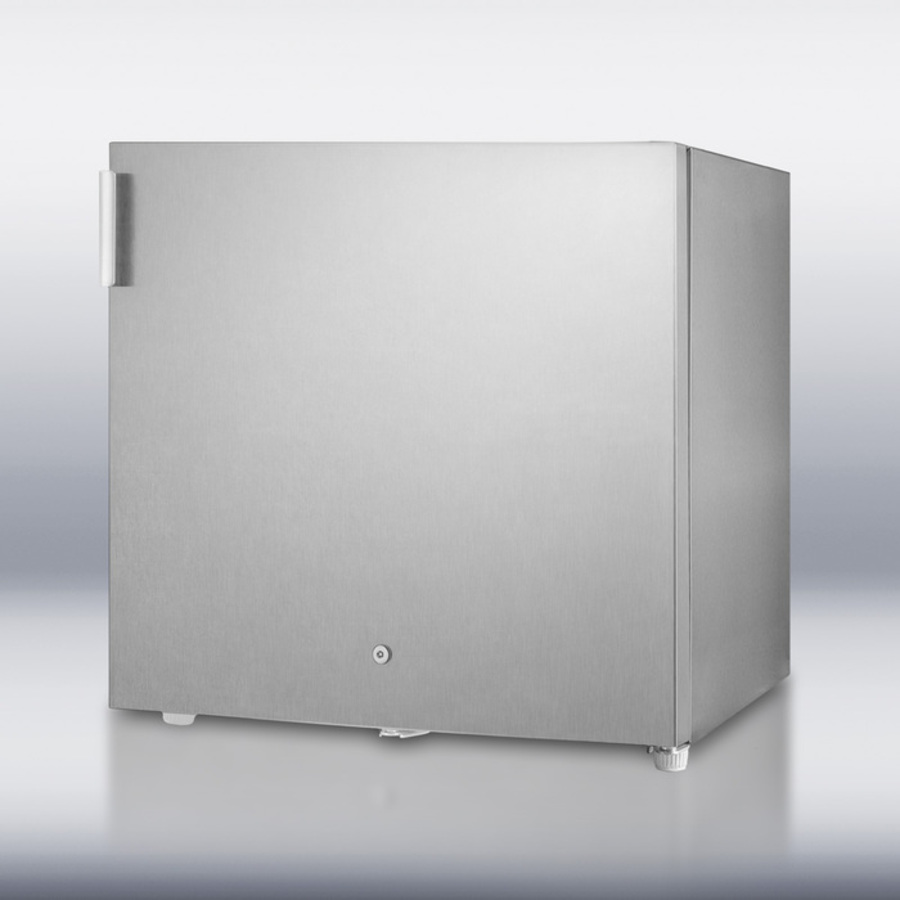 Commercially approved compact 'cube' shaped all-freezer with a front-mounted lock and complete stainless steel exterior, capable of -20ºC operation