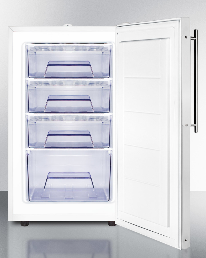 Commercially listed 20' wide built-in undercounter all-freezer, -20º C capable with a lock and stainless steel door frame for slide-in custom panels
