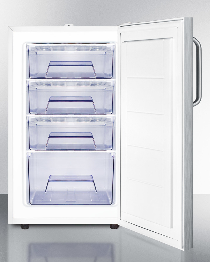 Commercially listed ADA Compliant 20' wide built-in undercounter all-freezer, -20º C capable with full stainless steel exterior and lock