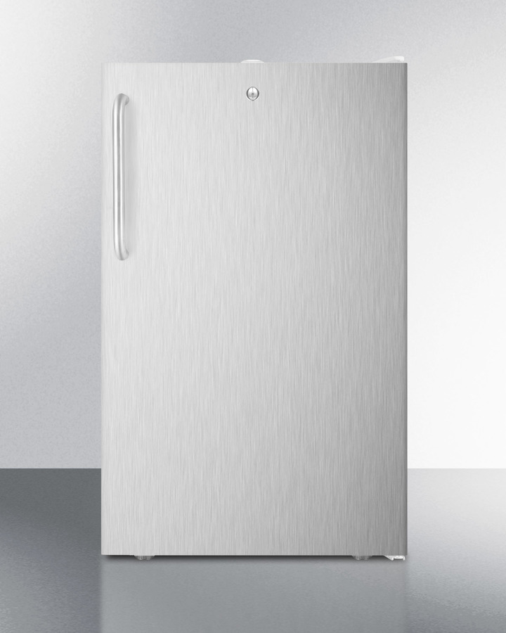 Summit Commercially listed 20' wide counter height all-freezer, -20º C capable with a lock, stainless steel door, towel bar handle and white cabinet