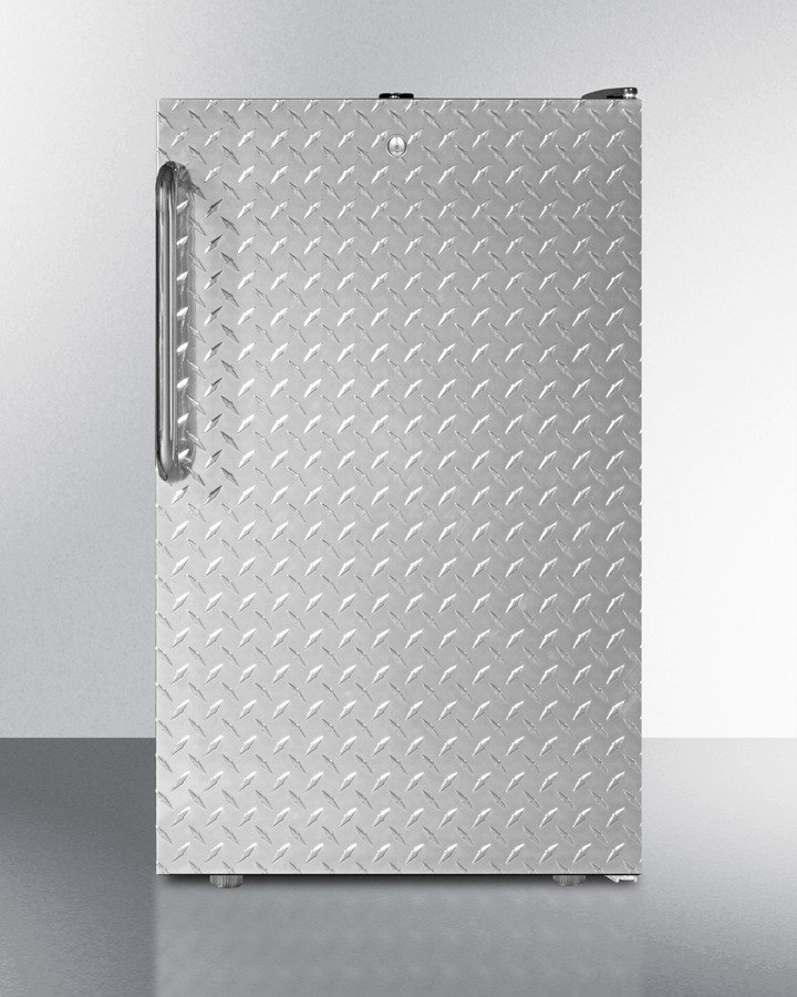 Commercially listed 20' wide counter height all-freezer, -20º C capable with a lock, diamond plate door, and black cabinet