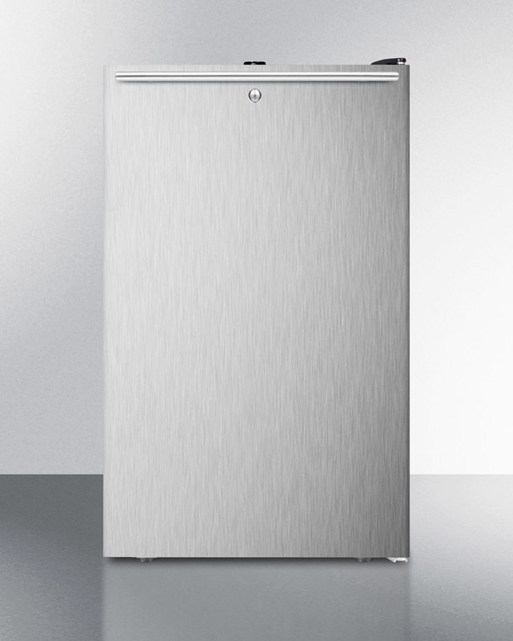 Commercially listed ADA compliant 20' wide all-freezer, -20º C capable with a lock, stainless steel door, horizontal handle and black cabinet