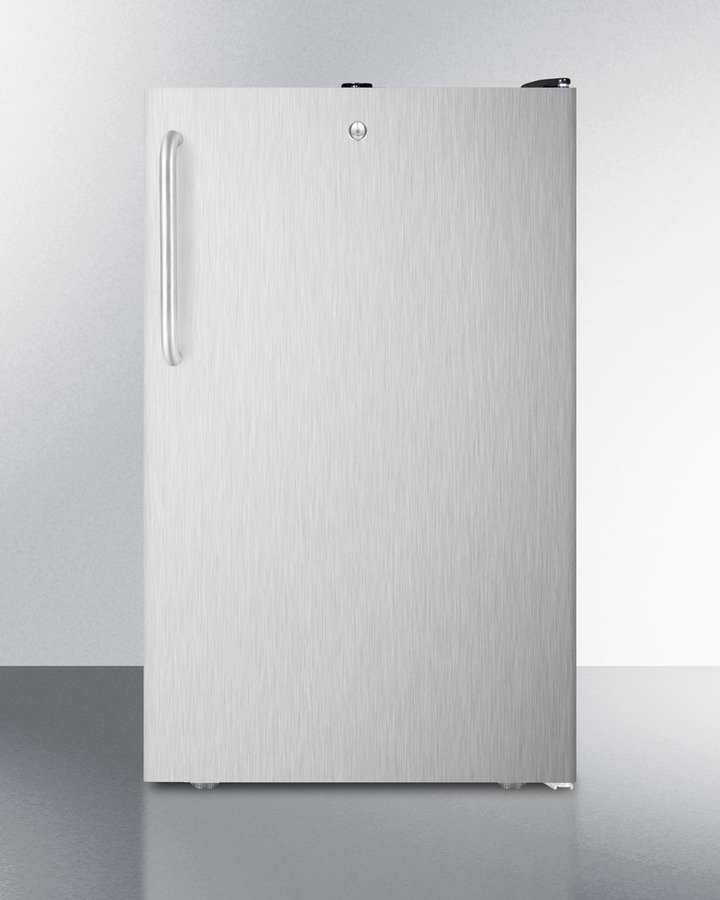 Commercially listed ADA Compliant 20' wide built-in undercounter all-freezer, -20º C capable w/lock, stainless steel door, towel bar handle and black cabinet