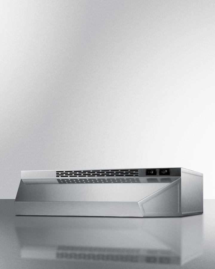 Summit 36 inch wide convertible range hood for ducted or ductless use in stainless steel finish
