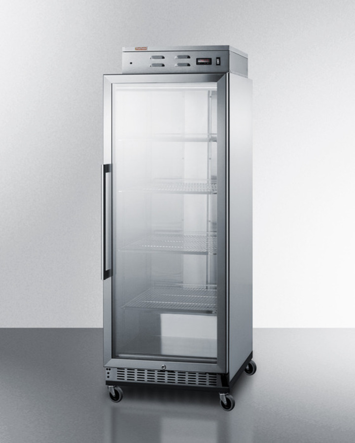 Model: PHC115G | Summit Single chamber warming cabinet with glass door, stainless steel construction, digital thermostat and lock