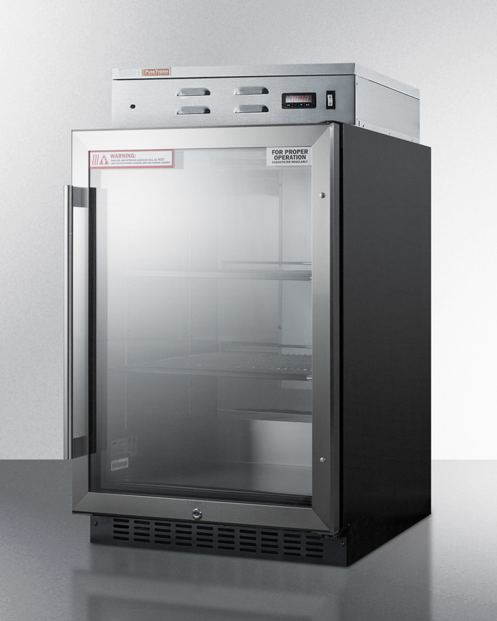 Model: PHC61G | Summit Single chamber warming cabinet with glass door, stainless steel interior, digital thermostat, and lock