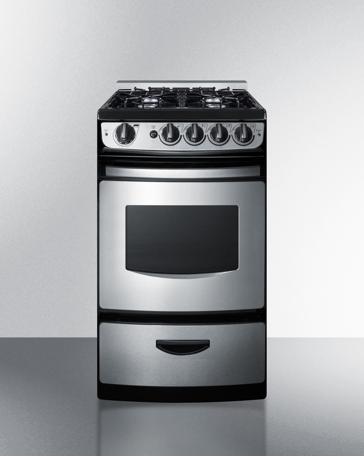 20' wide slide-in gas range in stainless steel with electronic ignition, oven window, and open burners