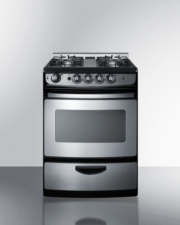 24' wide slide-in gas range in stainless steel with electronic ignition, oven window, and open burners