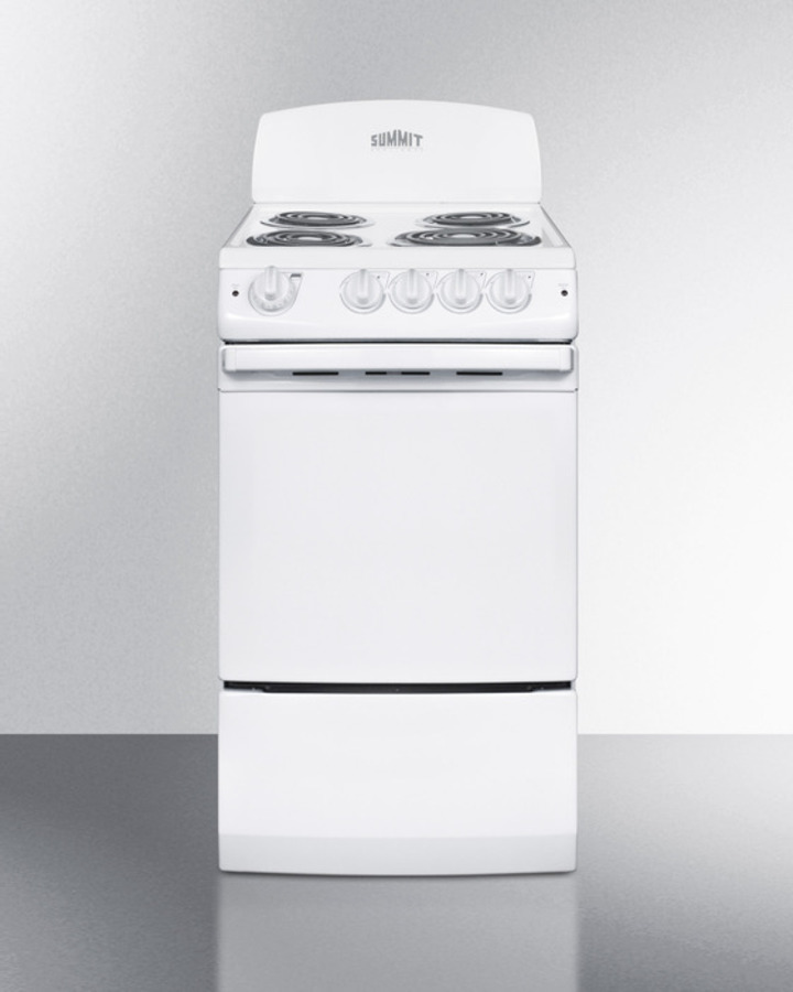 Summit 20' wide electric range in white finish with coil burners