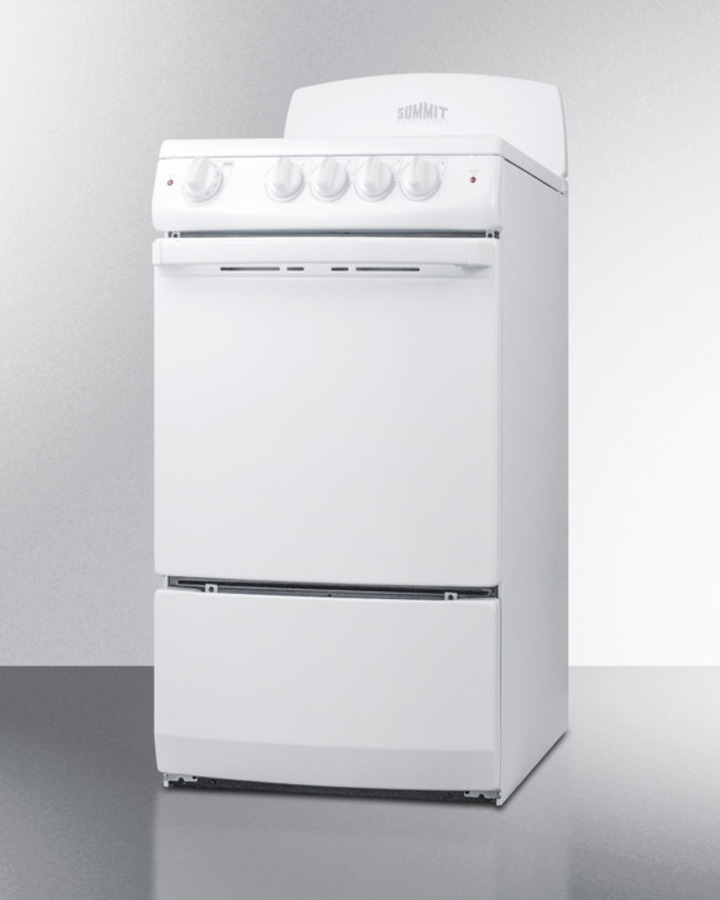 Model: RE203W | Summit 20' wide electric range in white finish with coil burners