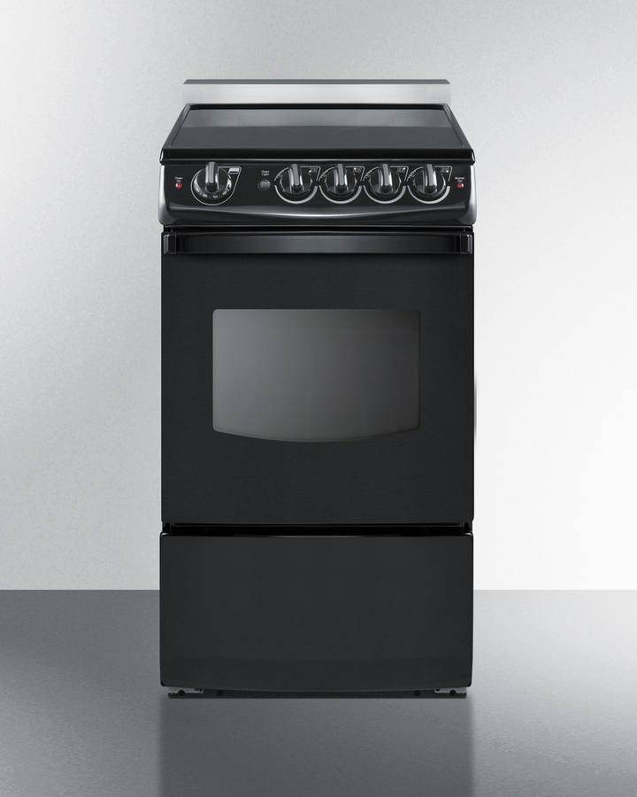 20' wide slide-in smooth-top electric range in black with oven window